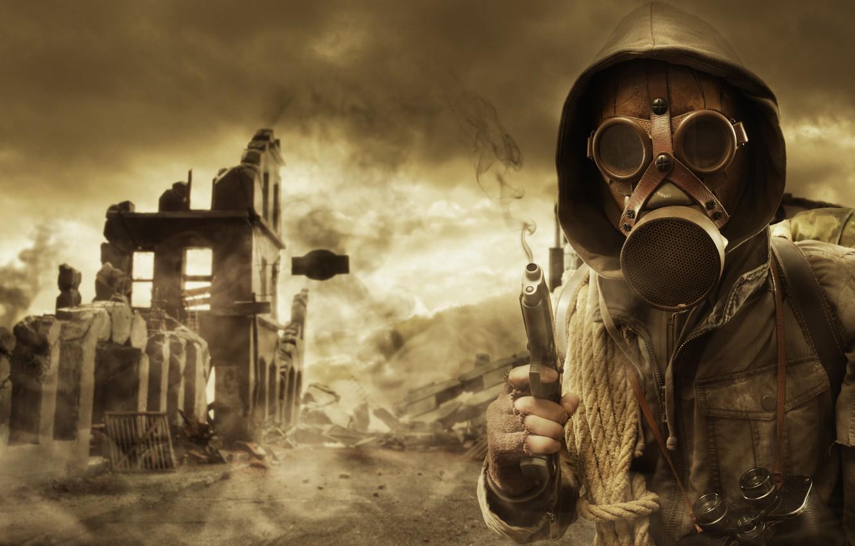 Photo wallpaper the sky, gun, smoke, hood, gas mask, Stalker, ruins, rope