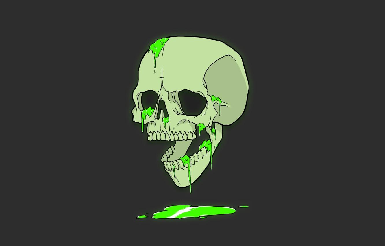 Photo wallpaper Minimalism, Skull, Humor, Wallpaper, Black, Art, Green, Green, Black, Sake, Wallpaper, Minimalism, Humor, Antonian Aleksandr