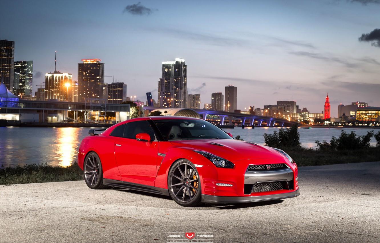 Photo wallpaper machine, auto, wheels, drives, auto, Vossen Wheels, Nissan. GTR