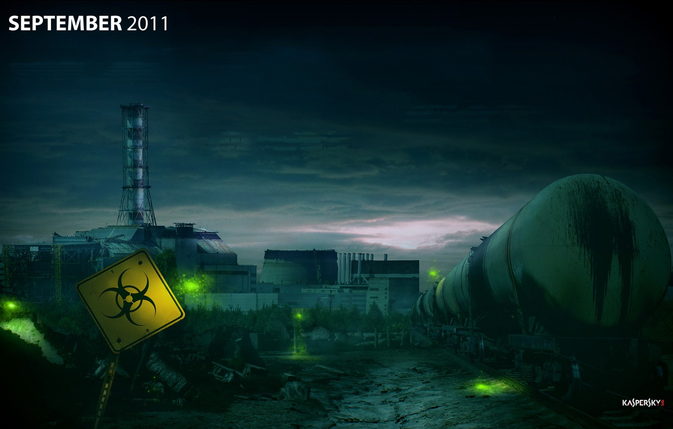 Photo wallpaper night, train, radiation, Chernobyl, Chernobyl, Ukraine, Kaspersky