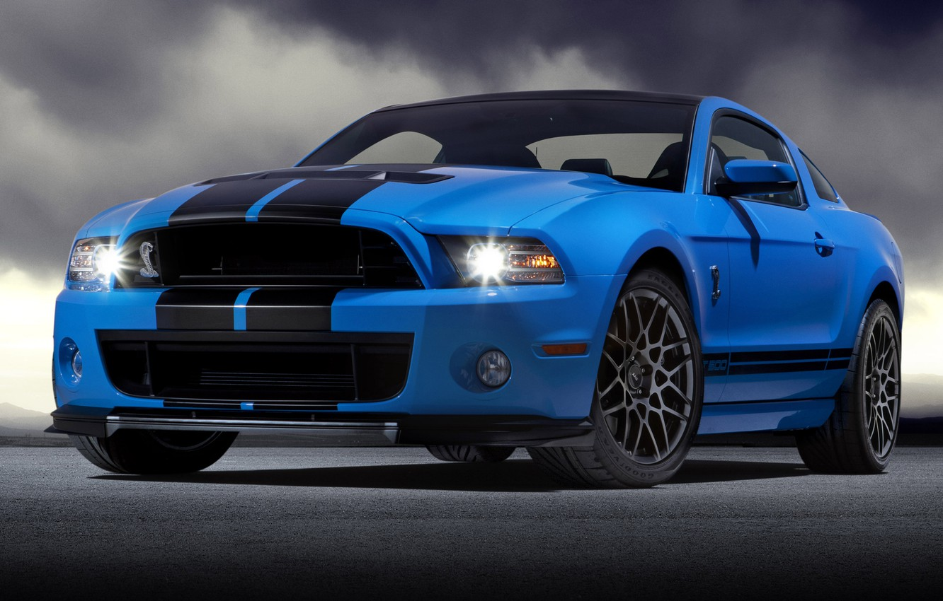 Photo wallpaper blue, Mustang, Ford, Shelby, GT500, Mustang, Ford, Shelby, blue, the front part, racing stripes