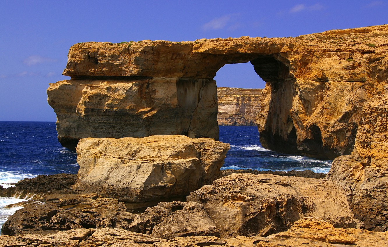Photo wallpaper sea, the sky, rocks, arch, Malta, Gozo, Dwejra