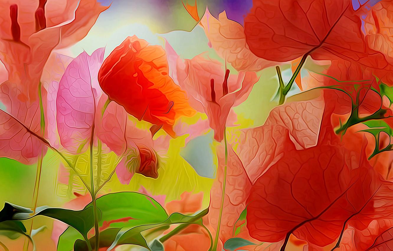 Photo wallpaper leaves, line, flowers, nature, paint