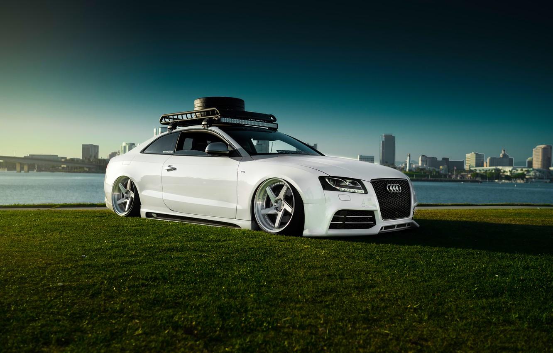 Photo wallpaper Audi, Car, Sky, Grass, RS5, White, Low, Stancenation