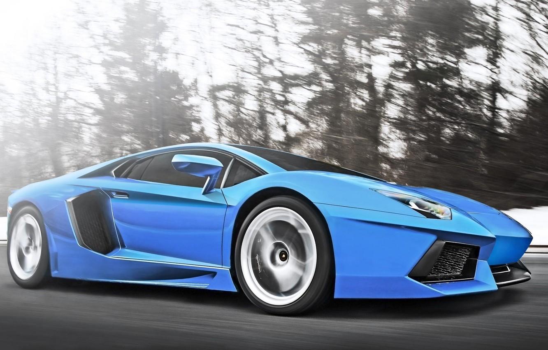 Photo wallpaper Lamborghini, Speed, Blue, Speed, Supercar, LP700-4, Aventador, Supercar