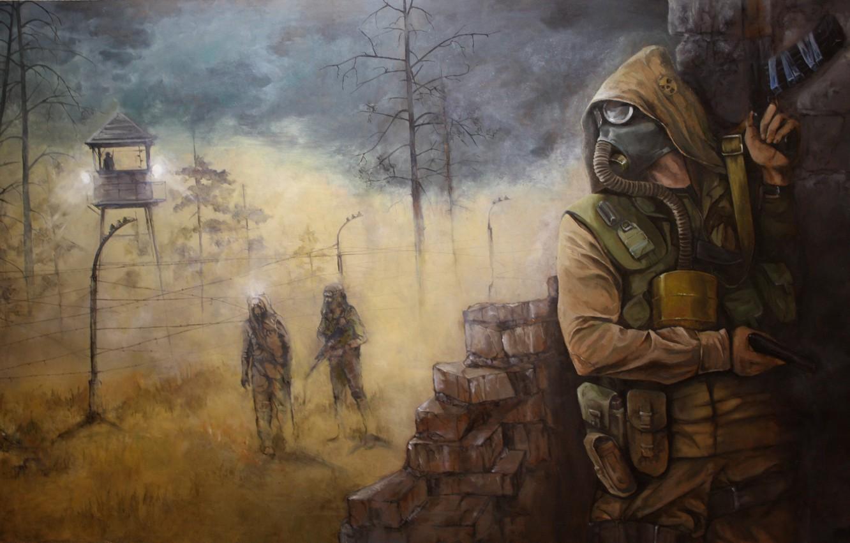 Photo wallpaper soldiers, Stalker, Pripyat, area, Ukraine