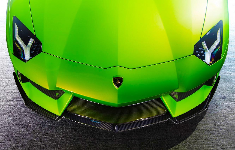 Photo wallpaper Lamborghini, Green, Front, Vorsteiner, Aventador, Supercar, Aventador-V, LP740-4