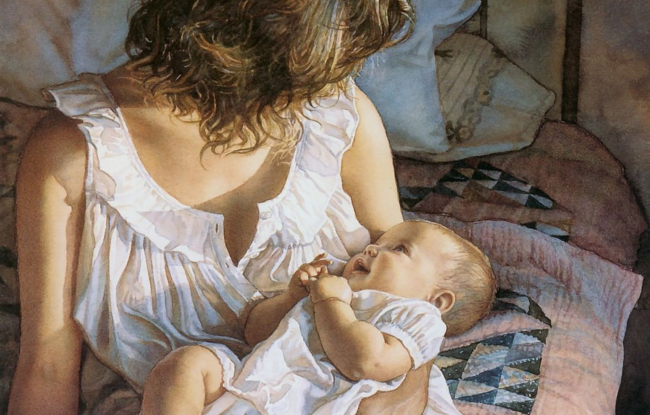 Photo wallpaper tenderness, baby, mom