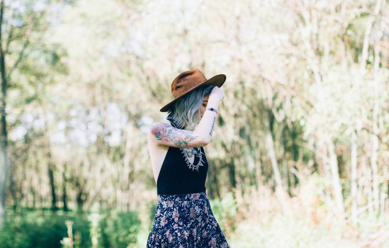 Photo wallpaper girl, hat, tattoo, tattoo