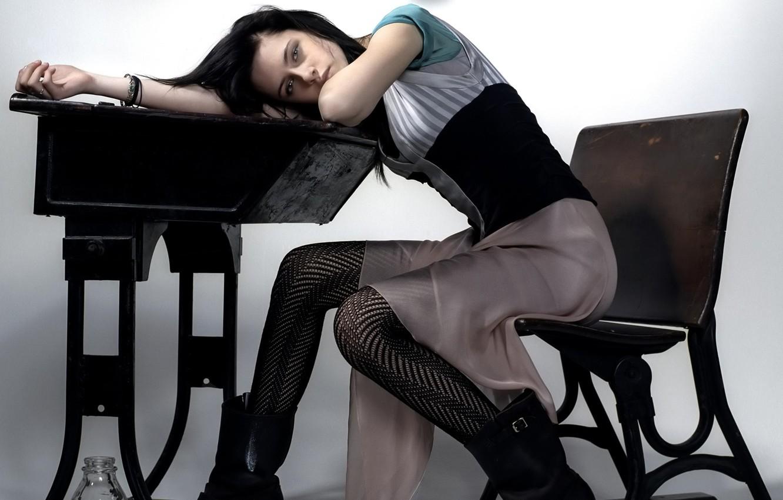 Photo wallpaper Look, Table, Brunette, Chair, Tights, Kristen Stewart, Kristen Stewart