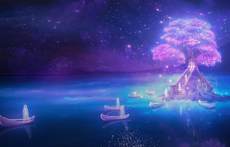 Photo wallpaper sea, water, stars, night, tree, boats, lighting, Art, art, LiliaOsipova