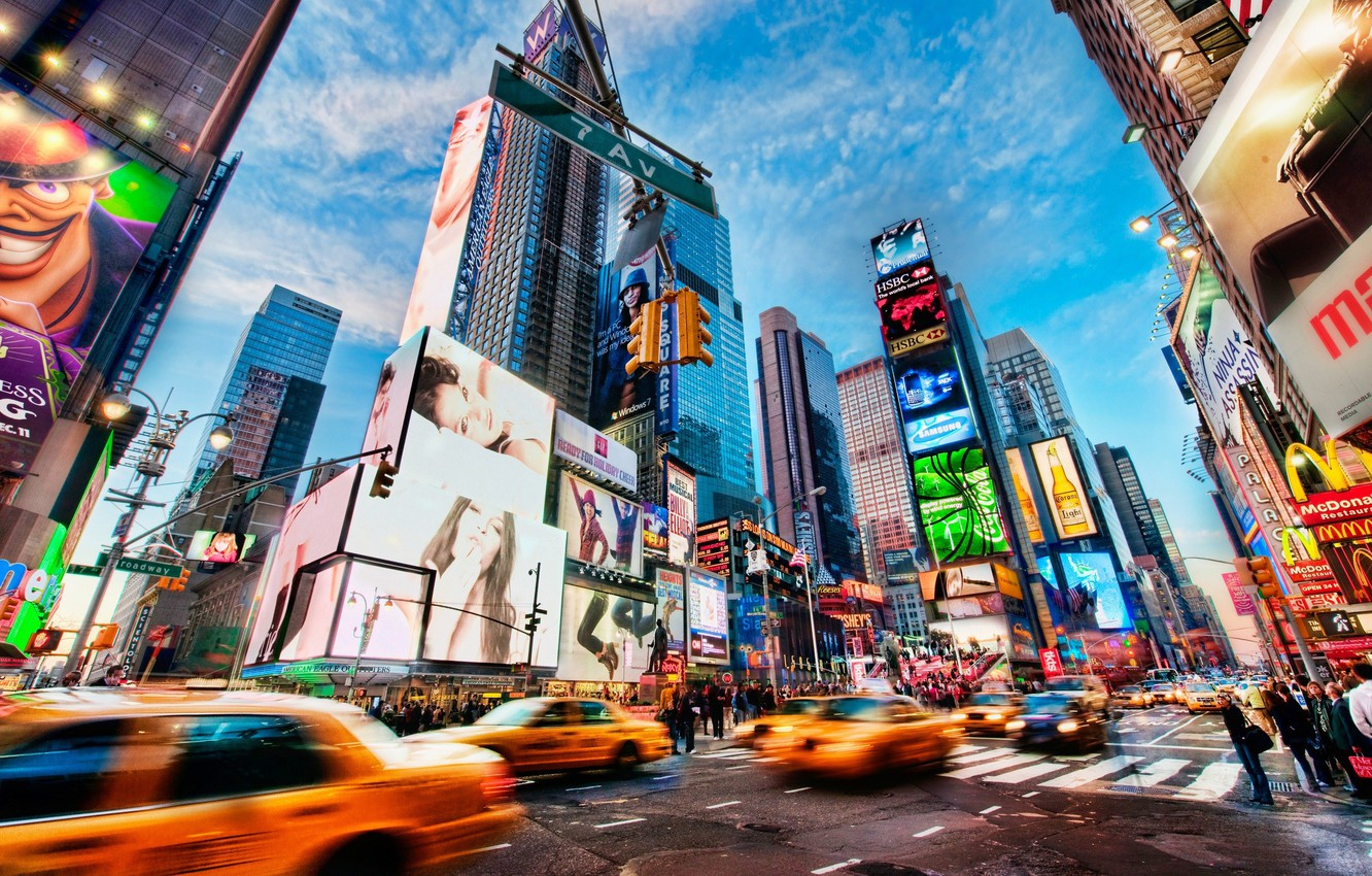 Wallpaper The City People Taxi New York Times Square
