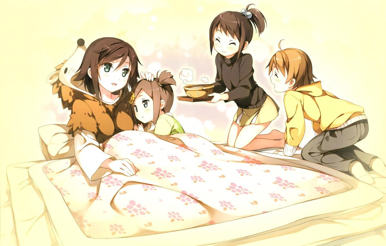 Photo wallpaper children, bed, pajamas, tray, tsukiko tsutsukakushi, ouji to warawanai neko, youto uokodera, tsukishima, tsukasa, by …