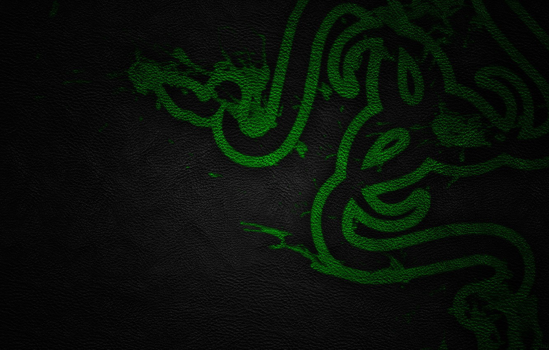 Photo wallpaper Green, Black, Logo, Razer, Wallpaper, Hi-Tech, Texture, Leather