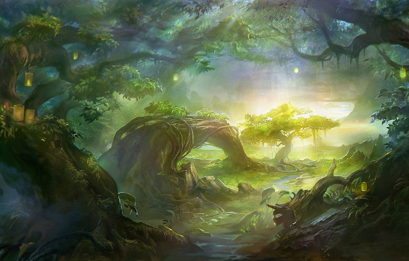 Photo wallpaper forest, light, trees, landscape, lights, roots, river, stream, art, lights, vines, rong rong, wang