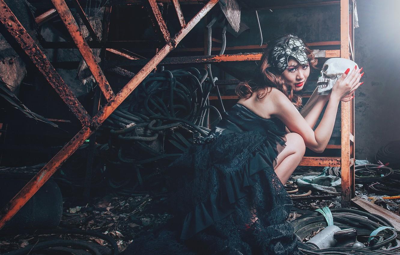 Photo wallpaper girl, skull, vampire