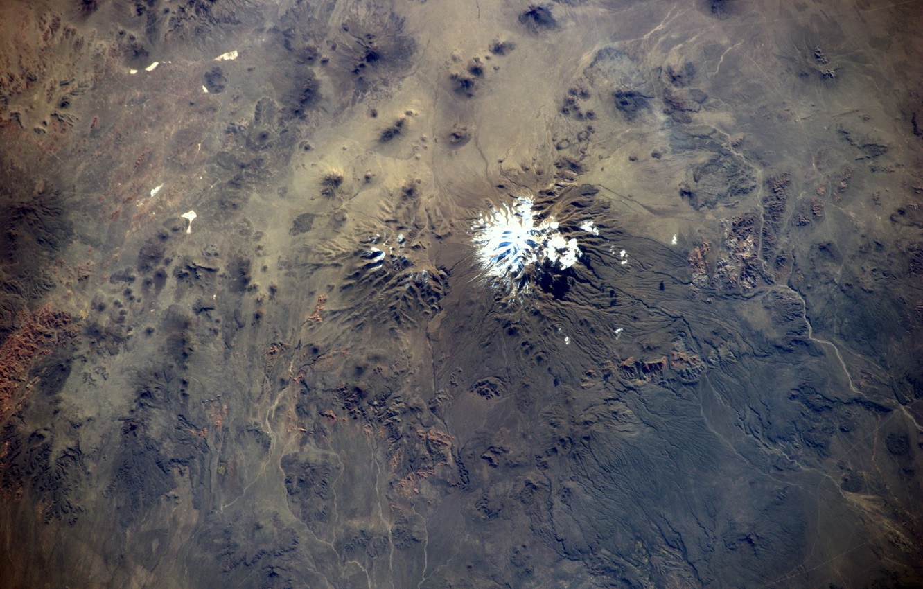 Photo wallpaper Chile, volcano, Earth from space