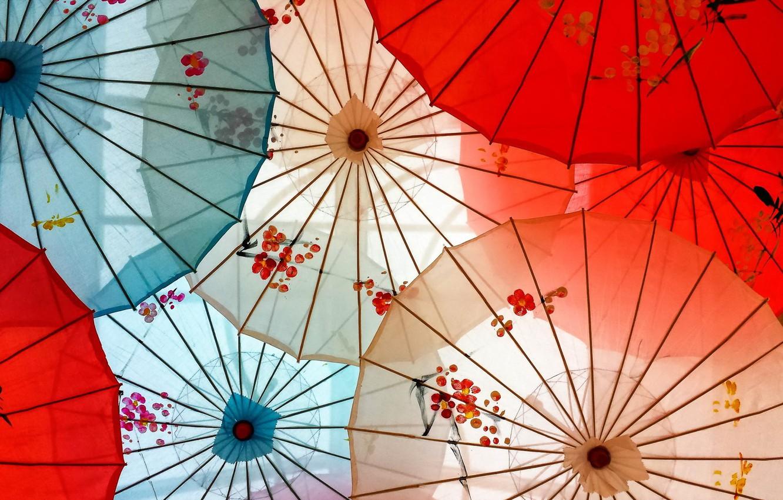 Photo wallpaper background, color, umbrellas
