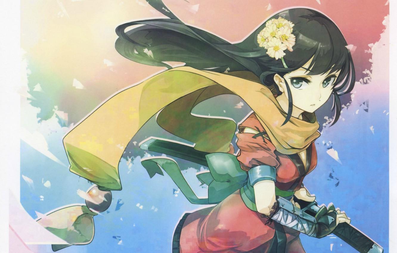 Photo wallpaper the wind, katana, scarf, samurai, girl, long hair, sheath