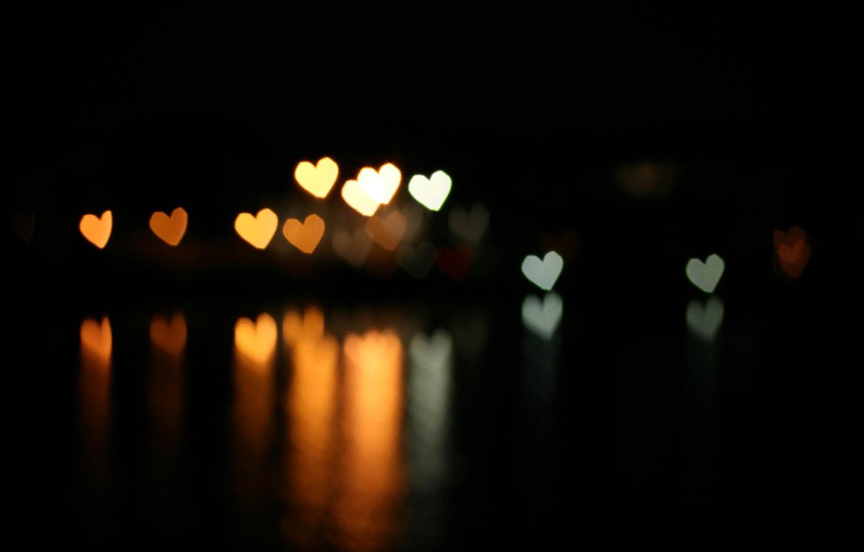 Photo wallpaper reflection, hearts, bokeh, bokeh effect, the dark background