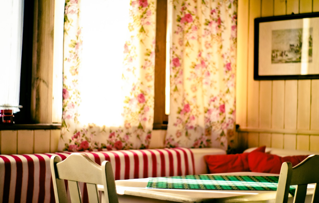 Photo wallpaper table, room, curtains, curtains, dining room