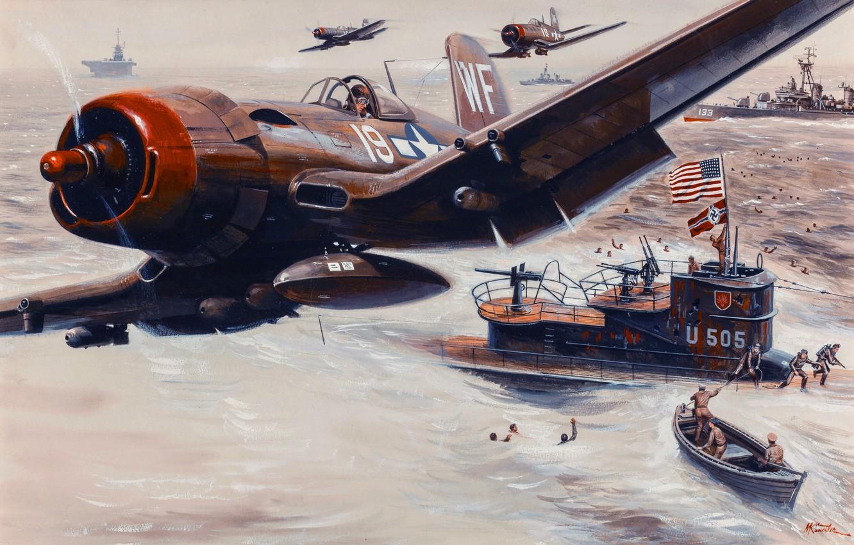 Photo wallpaper ships, pilot, the battle, submarine, Mort Künstler, people fighter