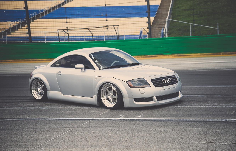 Photo wallpaper Audi, Audi, tuning, sports car, silver, stance