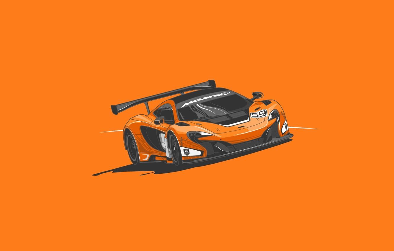Photo wallpaper McLaren, GTR, Orange, Car, Front, Minimalistic