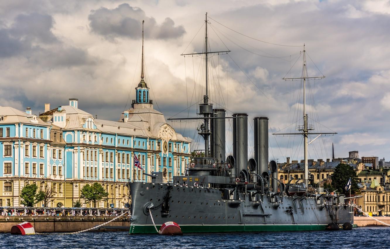 Photo wallpaper river, the building, Saint Petersburg, Aurora, Museum, promenade, cruiser, Petrogradskaya embankment, Nakhimov naval school, Bolshaya …