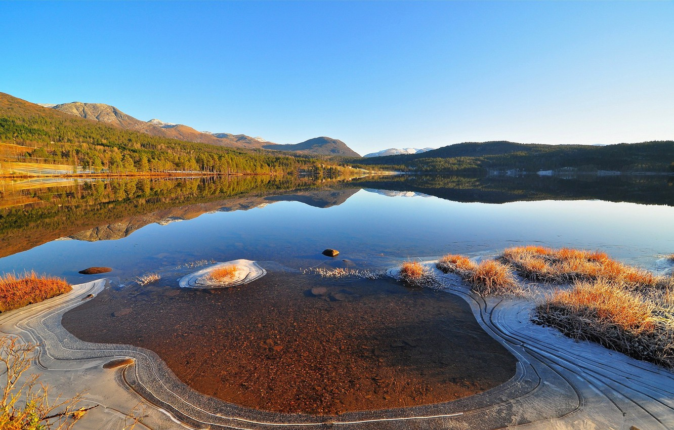 Photo wallpaper ice, the sky, mountains, nature, hills, silence, Bay, shoal, peace