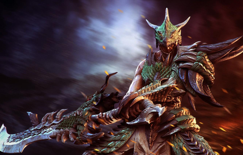 Photo wallpaper sword, armor, sparks, Warrior