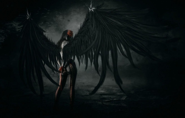 Wallpaper Girl Pose Wings Art Tights Fallen Angel