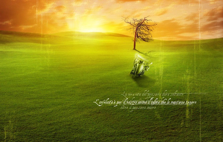Photo wallpaper sunset, sunrise, green lawn, find, game, artifact