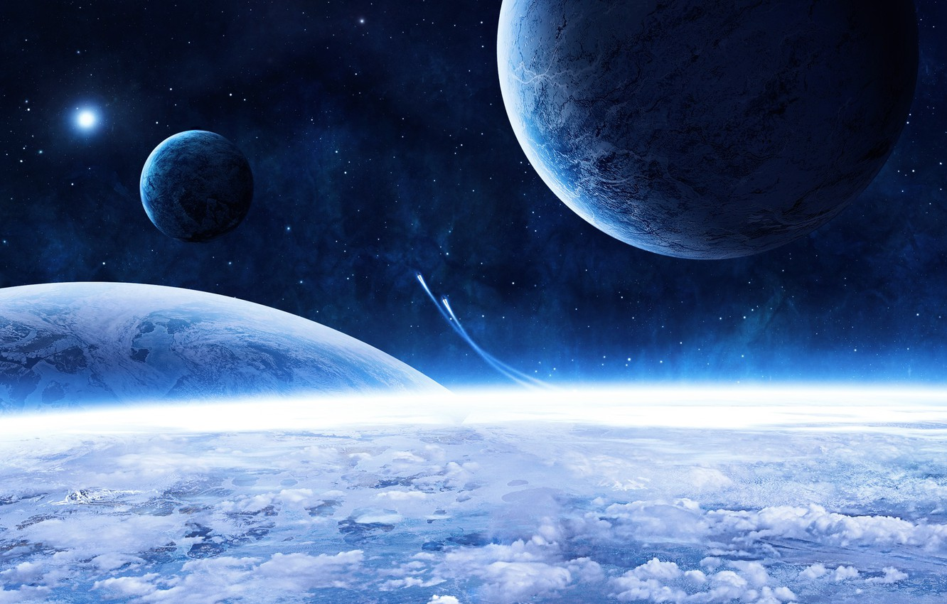 Photo wallpaper stars, clouds, planet, blue beauty, spaceships, beautiful blue