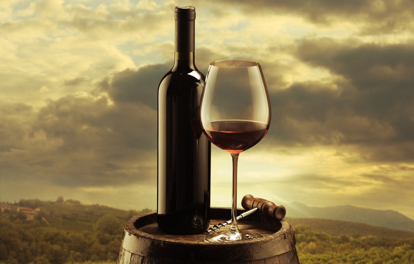 Photo wallpaper the sky, clouds, background, wine, red, glass, bottle, barrel, corkscrew, the vineyards