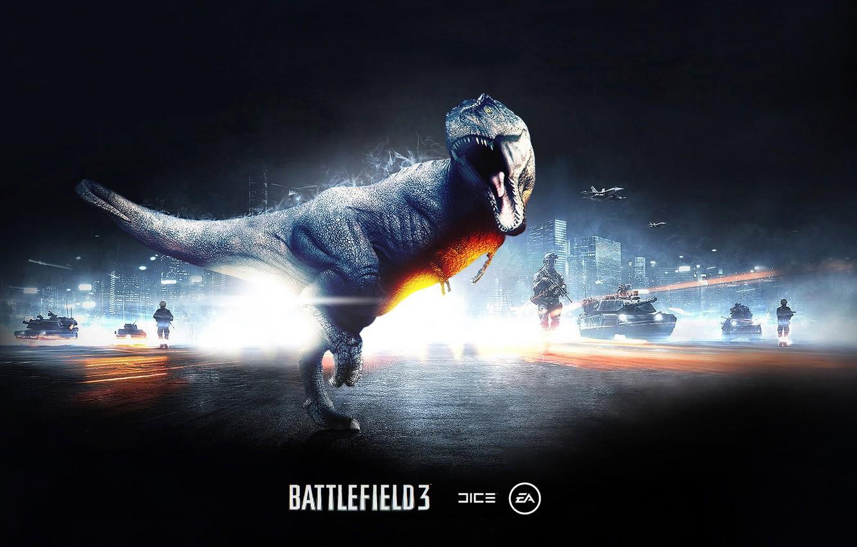 Photo wallpaper dinosaur, lizard, roar, battlefield 3