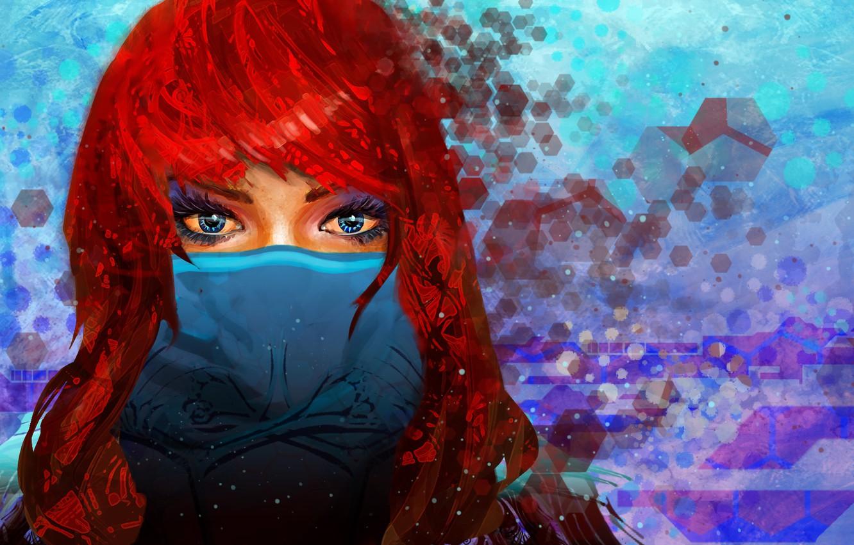 Photo wallpaper look, girl, mask, art, blue eyes, red hair