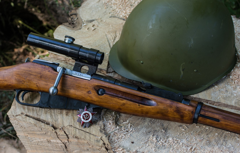 Photo wallpaper weapons, background, Order, rifle, helmet, sniper, Mosin, M91/30, store