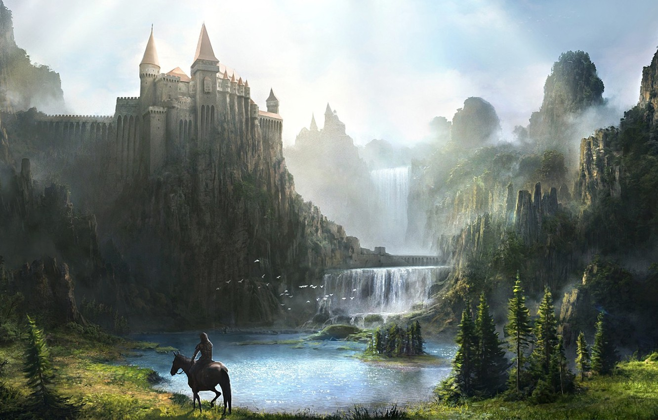 Photo wallpaper mountains, river, castle, rocks, horse, waterfall, armor, art, rider, fortress