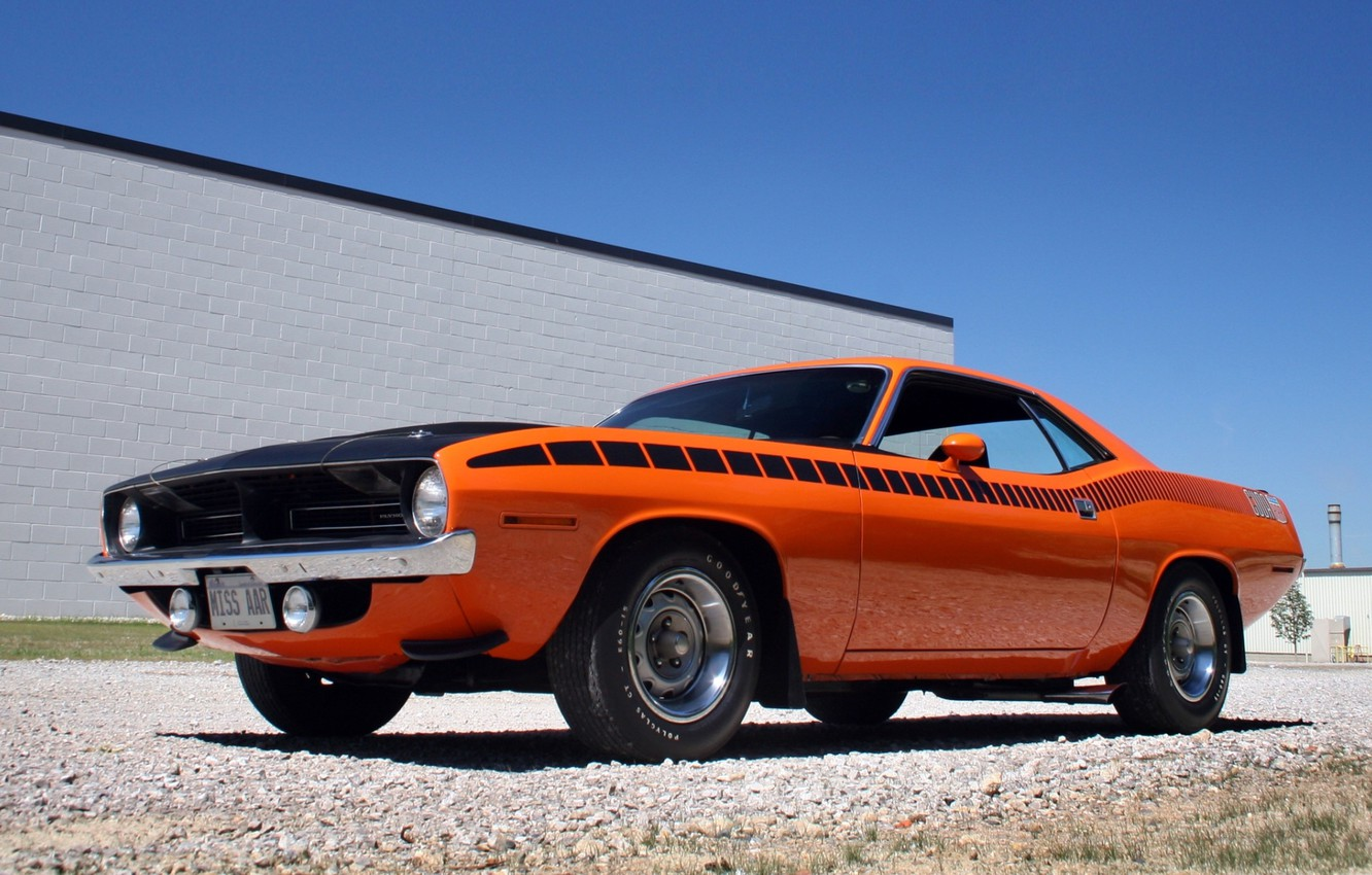 Photo wallpaper the sky, orange, muscle car, classic, 1970, Plymouth, the front, Muscle car, Plymouth, Cuda, AAR, …