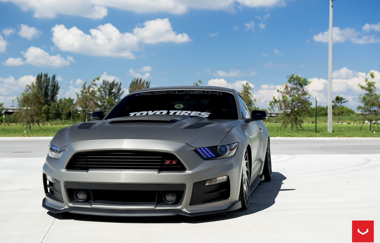 Photo wallpaper machine, auto, Mustang, Ford, Ford, Mustang, wheels, drives, auto, Vossen Wheels