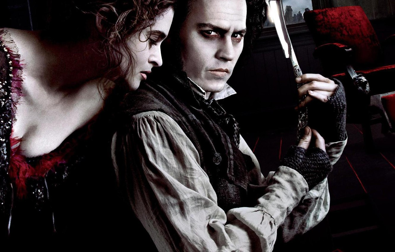 Photo wallpaper London, blade, knife, maniac, johnny depp, killer, johnny Depp, Tim Burton, helena bonham carter, the ...