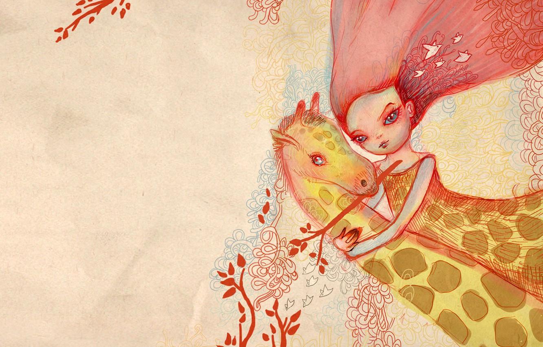 Photo wallpaper girl, pink, hugs, giraffe