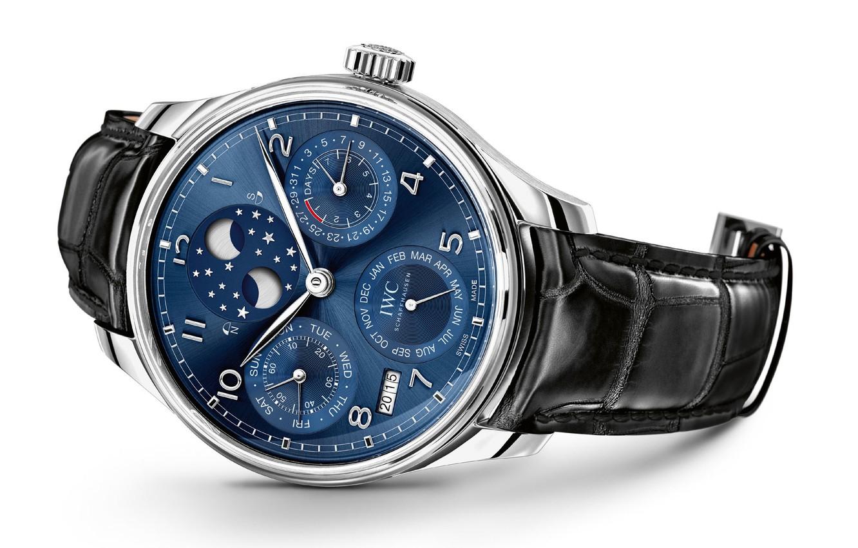 Photo wallpaper blue, watch, IWC Portugieser perpetual calendar