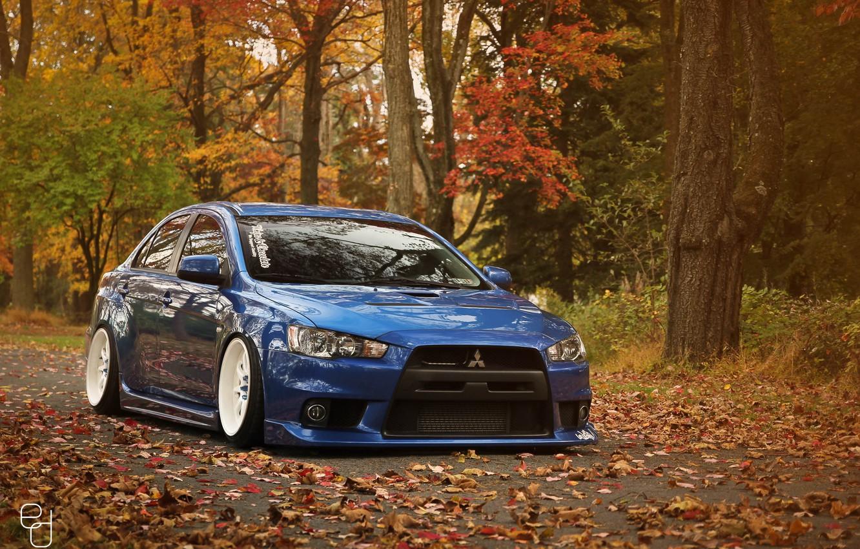 Photo wallpaper Mitsubishi, Lancer, Evo, Autumn