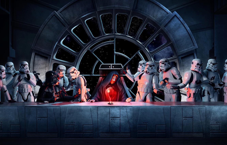 Photo wallpaper star wars, star wars, stormtroopers, the Emperor, Vader