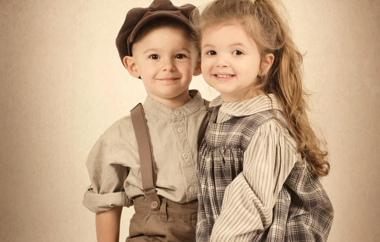 Photo wallpaper children, retro, boy, Sepia, girl, girl, boy, children