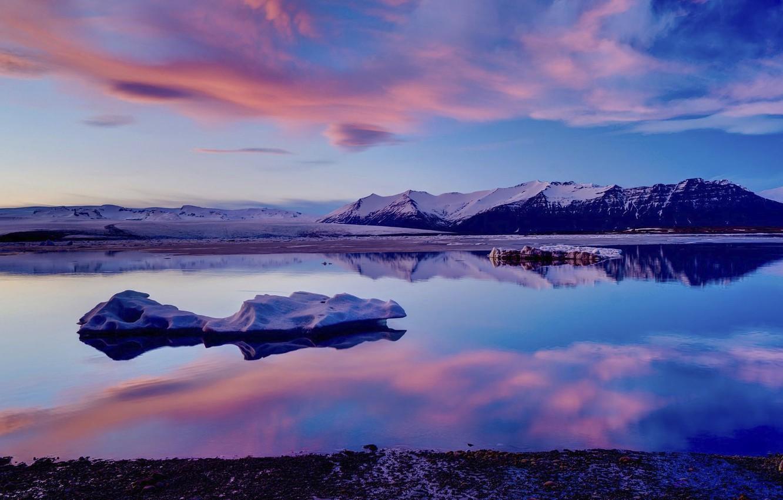 Wallpaper Pink Clouds Purple Fire Landscape Ice Lake
