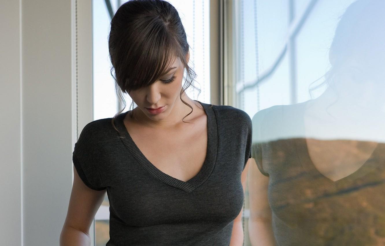 Photo wallpaper girl, brunette, window, Holly Michaels, Holly M