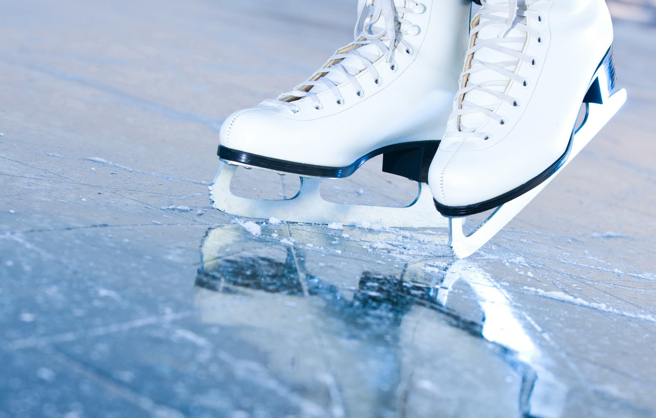 Photo wallpaper ice, macro, rink, skates